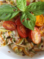 Spicy Rainbow Farfalline Pasta With Balsamic Tomatoes